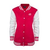 Ladies Pink Raspberry/White Fleece Letterman Jacket-WPU Primary Mark Tone