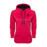 Ladies Pink Raspberry Tech Fleece Hoodie-WPU Primary Mark Tone