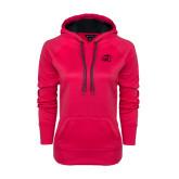 Ladies Pink Raspberry Tech Fleece Hoodie-WPU Primary Mark Tone