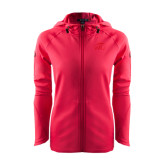 Ladies Tech Fleece Full Zip Hot Pink Hooded Jacket-WPU Primary Mark Tone