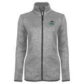 Grey Heather Ladies Fleece Jacket-WPU Primary Mark
