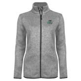 Grey Heather Ladies Fleece Jacket-WPU Primary Mark