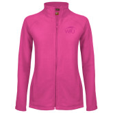 Ladies Fleece Full Zip Raspberry Jacket-WPU Primary Mark Tone