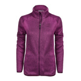 Dark Pink Heather Ladies Fleece Jacket-WPU Primary Mark Tone
