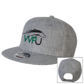 Heather Grey Wool Blend Flat Bill Snapback Hat-WPU Primary Mark