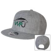 Heather Grey Wool Blend Flat Bill Snapback Hat-WPU Primary Mark