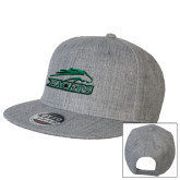 Heather Grey Wool Blend Flat Bill Snapback Hat-Arched Pacer w/ Pacer