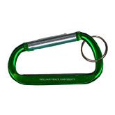Green Carabiner with Split Ring-William Peace University Engraved