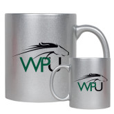 11oz Silver Metallic Ceramic Mug-WPU Primary Mark