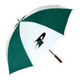 62 Inch Forest Green/White Umbrella-P w/Pacer