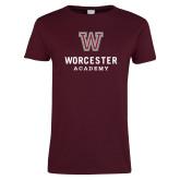 Ladies Maroon T Shirt-Worcester Academy