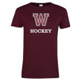 Ladies Maroon T Shirt-Hockey