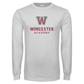 White Long Sleeve T Shirt-Worcester Academy Distressed