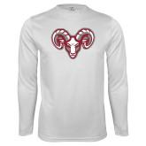 Performance White Longsleeve Shirt-Ram Head