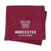 Maroon Sweatshirt Blanket-Worcester Academy