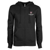 ENZA Ladies Black Fleece Full Zip Hoodie-Worcester Academy