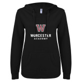ENZA Ladies Black V Notch Raw Edge Fleece Hoodie-Worcester Academy