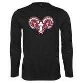 Performance Black Longsleeve Shirt-Ram Head