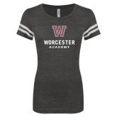 ENZA Ladies Black/White Vintage Football Tee-Worcester Academy