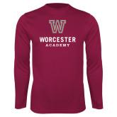 Performance Maroon Longsleeve Shirt-Worcester Academy