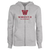 ENZA Ladies Grey Fleece Full Zip Hoodie-Worcester Academy