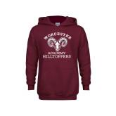 Youth Maroon Fleece Hoodie-Primary Mark