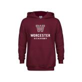 Youth Maroon Fleece Hoodie-Worcester Academy