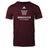 Adidas Maroon Logo T Shirt-Worcester Academy