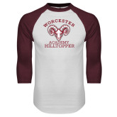 White/Maroon Raglan Baseball T Shirt-Primary Mark