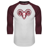 White/Maroon Raglan Baseball T Shirt-Ram Head