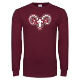 Maroon Long Sleeve T Shirt-Ram Head