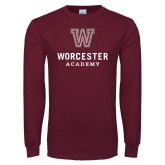 Maroon Long Sleeve T Shirt-Worcester Academy Distressed