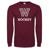 Maroon Long Sleeve T Shirt-Hockey