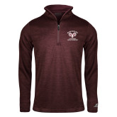 Russell Maroon Heather 1/4 Zip-Primary Mark