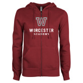 ENZA Ladies Maroon Fleece Full Zip Hoodie-Worcester Academy