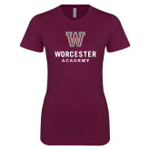 Next Level Ladies SoftStyle Junior Fitted Maroon Tee-Worcester Academy