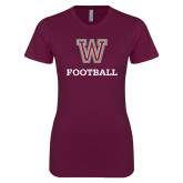Next Level Ladies SoftStyle Junior Fitted Maroon Tee-Football