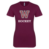 Next Level Ladies SoftStyle Junior Fitted Maroon Tee-Hockey