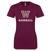 Next Level Ladies SoftStyle Junior Fitted Maroon Tee-Baseball