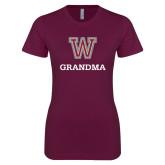 Next Level Ladies SoftStyle Junior Fitted Maroon Tee-Grandma