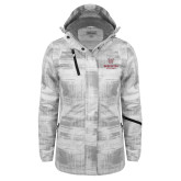 Ladies White Brushstroke Print Insulated Jacket-Worcester Academy