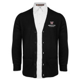 Black V Neck Cardigan w/Pockets-Worcester Academy