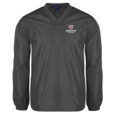 V Neck Charcoal Raglan Windshirt-Worcester Academy
