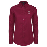 Ladies Maroon Twill Button Down Long Sleeve-Worcester Academy
