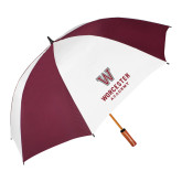 62 Inch Maroon/White Vented Umbrella-Worcester Academy