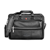 Wenger Swiss Army Leather Black Double Compartment Attache-Interlocking W Mountaineers - Official Logo Deboss