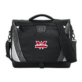 Slope Black/Grey Compu Messenger Bag-Interlocking W Mountaineers - Official Logo