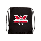 Black Drawstring Backpack-Interlocking W Mountaineers - Official Logo