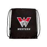 Black Drawstring Backpack-W Western