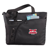 Excel Black Sport Utility Tote-Interlocking W Mountaineers - Official Logo